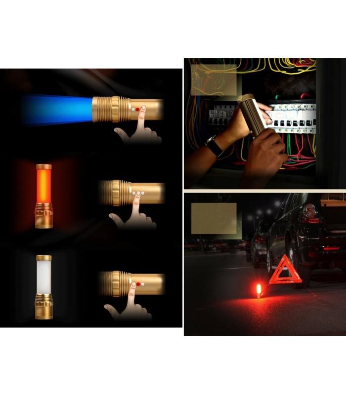 Мощен Q5 LED фенер с аварийни светлини