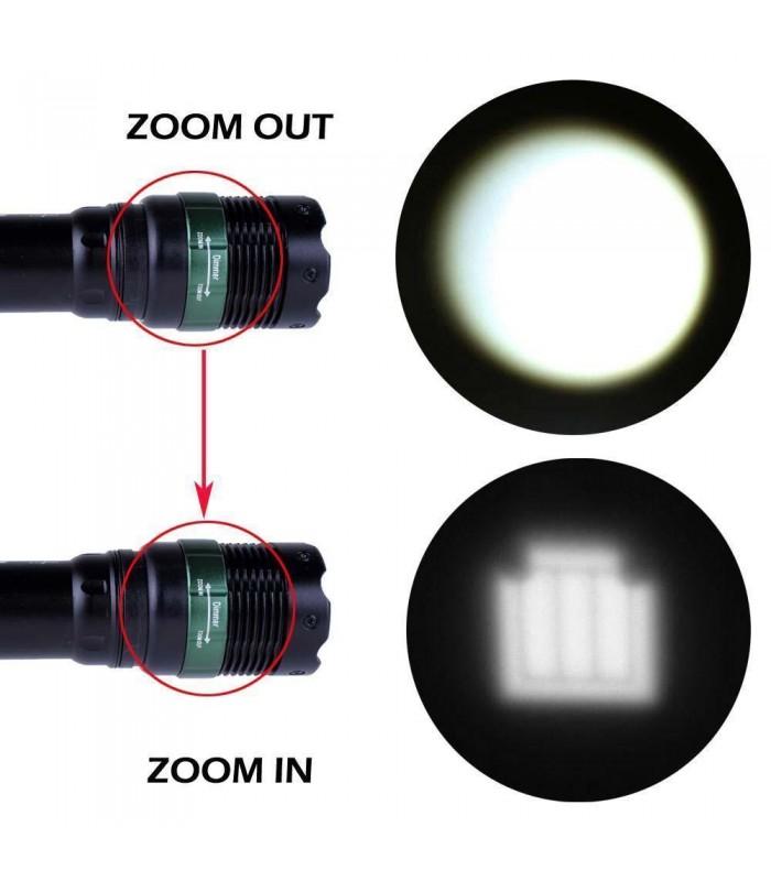 LED фенер с акумулаторна батерия, зарядно и ZOOM