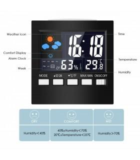 Настолен часовник с влагомер и термометър - модел 2159 - 5