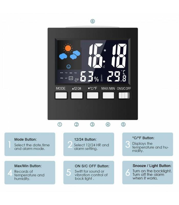Настолен часовник с влагомер и термометър - модел 2159 - 6