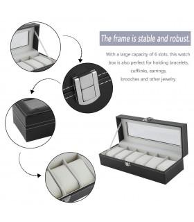 Кутия за часовници с 6 отделения - модел класик - 6