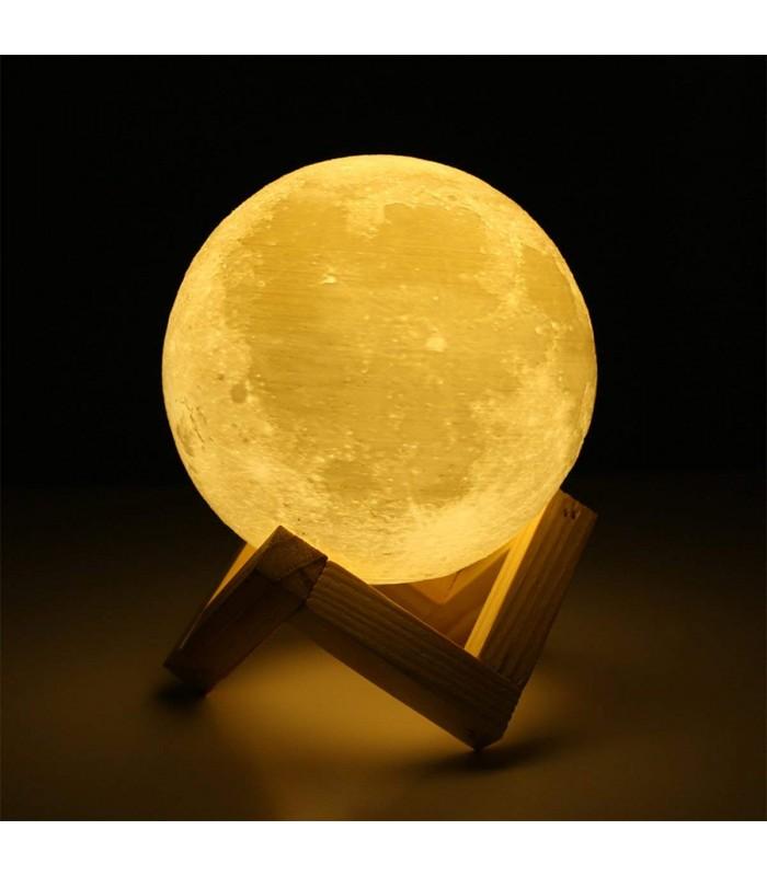 3D лампа със стойка Луна с активиране чрез почукване - 1
