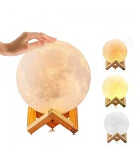3D лампа със стойка Луна с активиране чрез почукване - 2