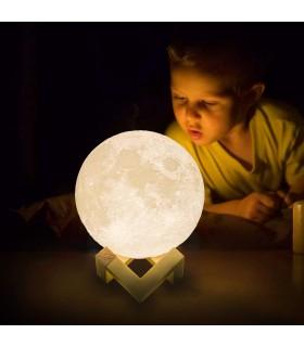 3D лампа със стойка Луна с активиране чрез почукване - 8