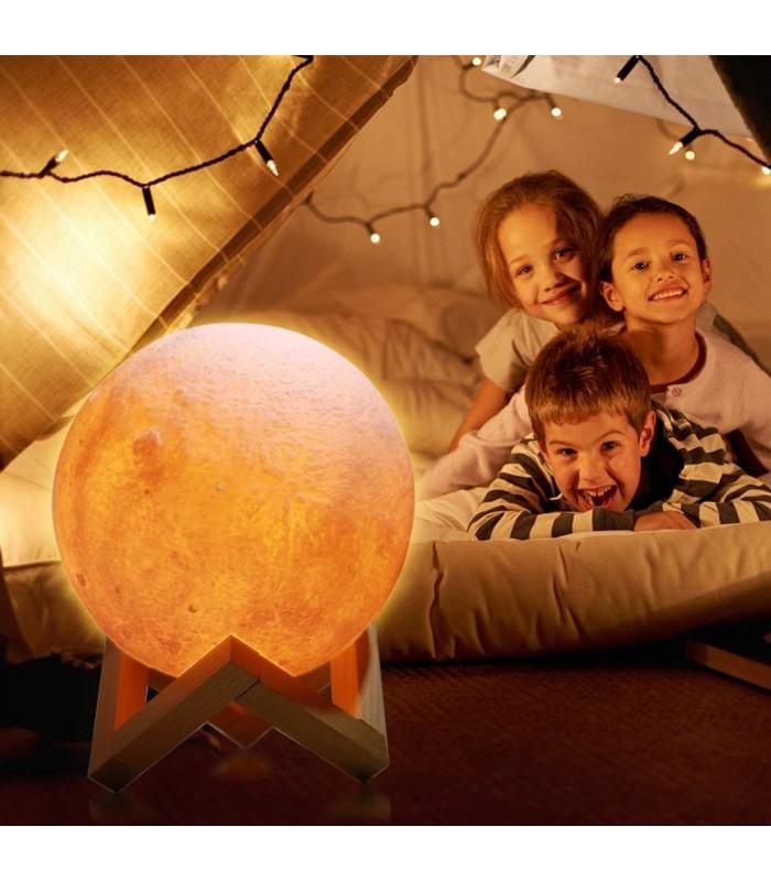 3D лампа със стойка Луна с активиране чрез почукване - 7