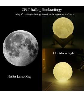 3D лампа със стойка Луна с активиране чрез почукване - 9