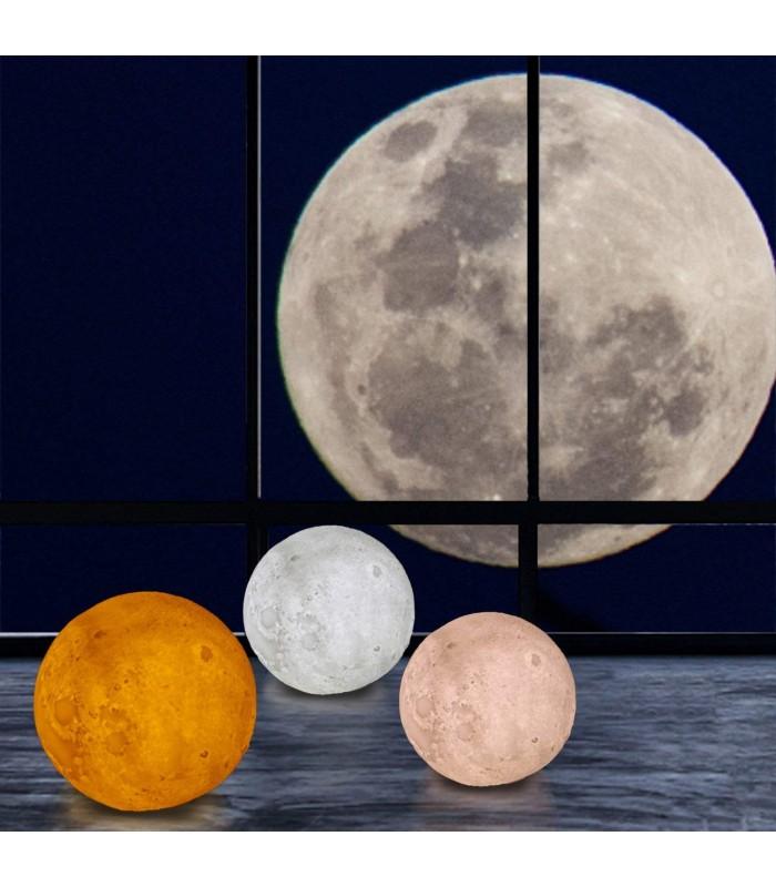 3D лампа със стойка Луна с активиране чрез почукване - 4