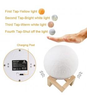 3D лампа със стойка Луна с активиране чрез почукване - 6