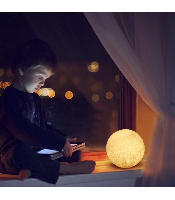 3D лампа със стойка Луна с активиране чрез почукване - 10