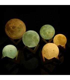 3D лампа със стойка Луна с активиране чрез почукване - 3