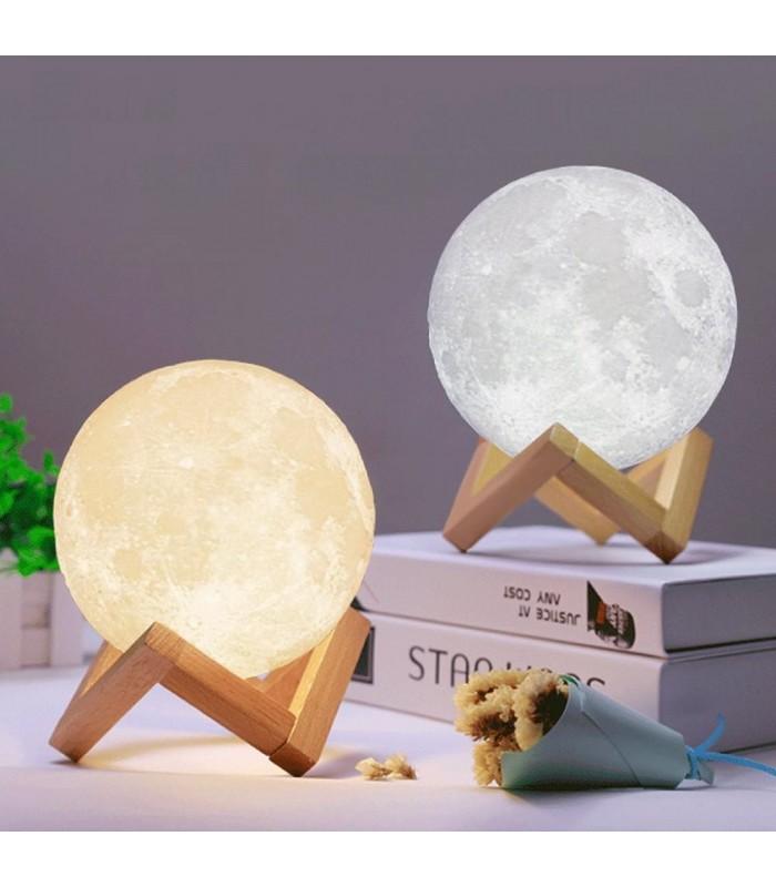 3D лампа със стойка Луна с активиране чрез почукване - 5