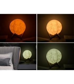 3D лампа със стойка Луна с активиране чрез почукване - 12
