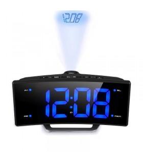 Прожекционен часовник на 220V с радио и USB изход за зареждане
