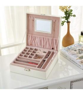 Луксозна кожена кутия за бижута с две нива и огледало