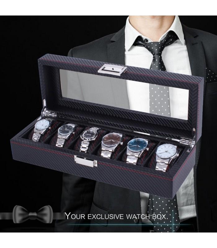 Карбонова кутия за часовници за 6 часовника - 6