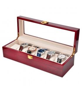 Дървена кутия за 6 часовника