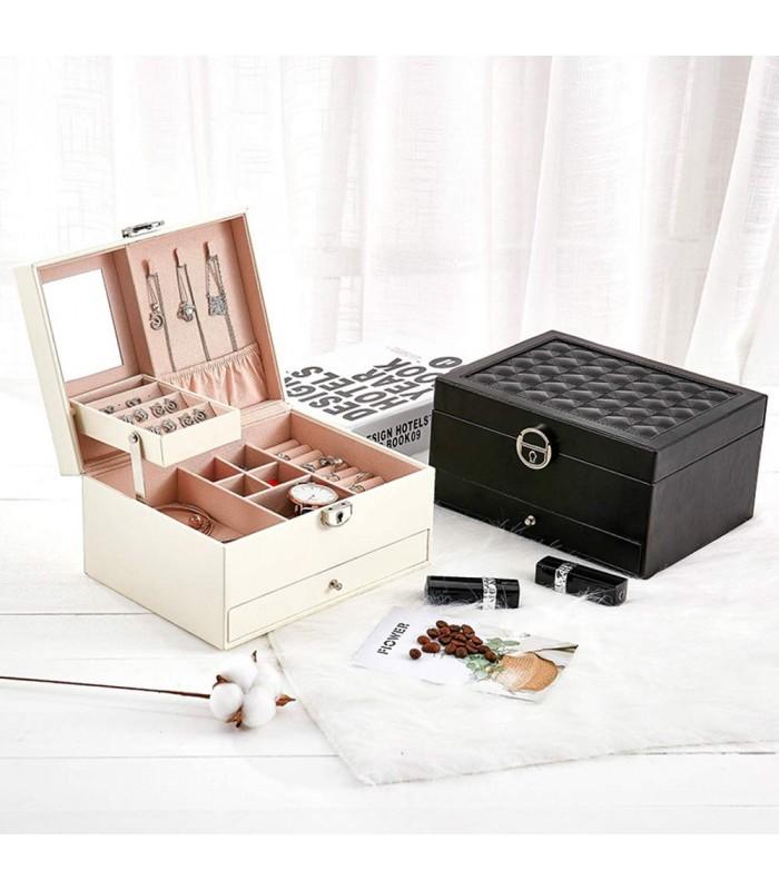 Луксозна кожена кутия за бижута и козметика с 2 нива - код 2755 - 1