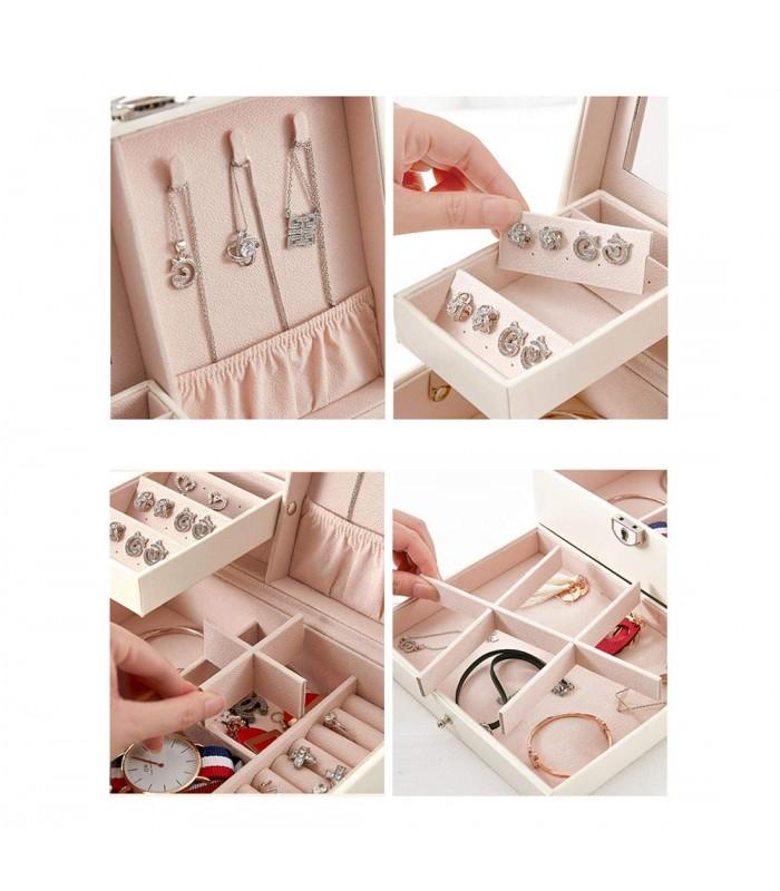 Луксозна кожена кутия за бижута и козметика с 2 нива - код 2755 - 5