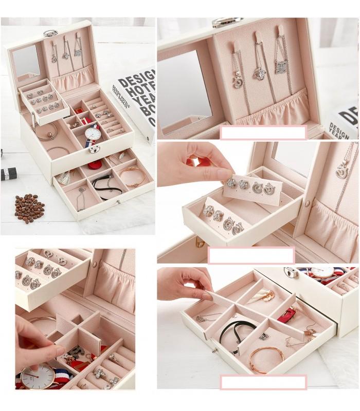 Луксозна кожена кутия за бижута и козметика с 2 нива - код 2755 - 4