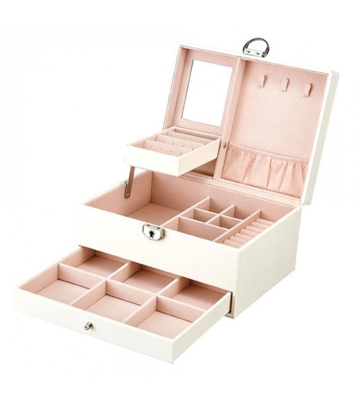Луксозна кожена кутия за бижута и козметика с 2 нива - код 2755 - 7