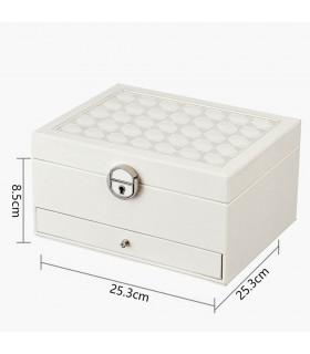 Луксозна кожена кутия за бижута и козметика с 2 нива - код 2755 - 9