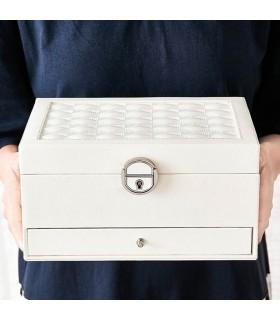 Луксозна кожена кутия за бижута и козметика с 2 нива - код 2755 - 10