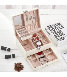 Луксозна кожена кутия за бижута и козметика с 2 нива - код 2755 - 2
