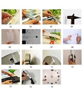 Лепящи 3D часовник за стена - модел 4215 - 9