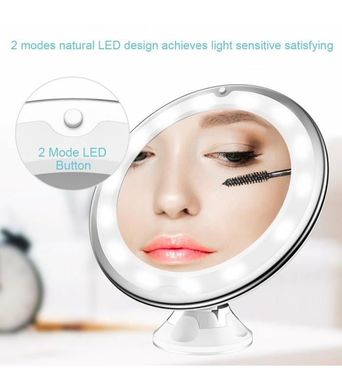 Огледало с увеличение 10Х, LED светлина и захващане с вакуум - 3