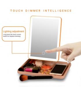 Огледало за гримиране с LED светлина в 3 цвята - 1