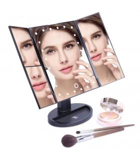 Настолно огледало с 3 увеличителни огледала и лед светлина - 1