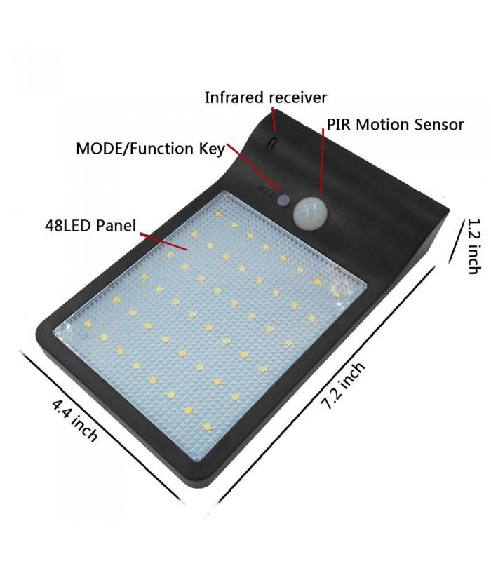 Соларна лампа с 48 диода за стена с датчик за движение и дистанционно - 5