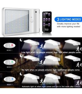 Соларна лампа с 48 диода за стена с датчик за движение и дистанционно - 11