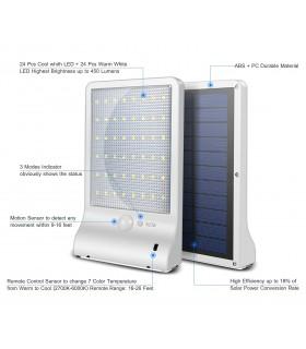 Соларна лампа с 48 диода за стена с датчик за движение и дистанционно - 9