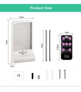 Соларна лампа с 48 диода за стена с датчик за движение и дистанционно - 12