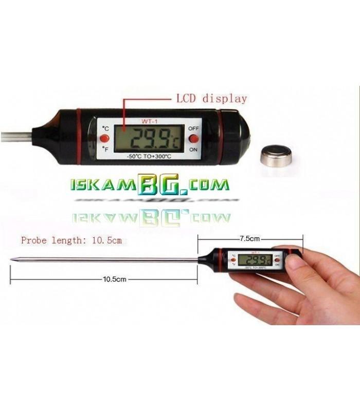 Дигитален термометър със сонда LCD екран