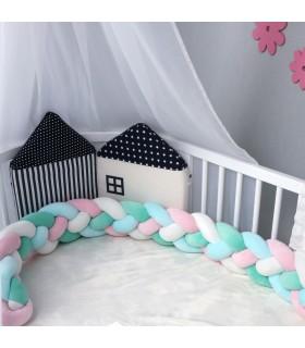 Плетен обиколник за бебешка кошара-количка - 2