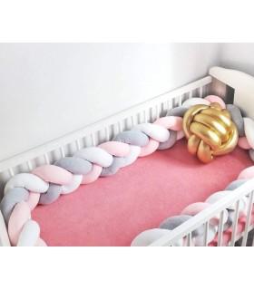 Плетен обиколник за бебешка кошара-количка - 11
