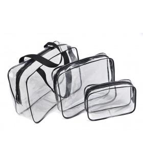 К-т от 3бр. прозрачни чантички с цип за козметика при пътуване