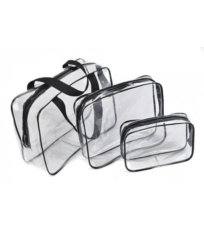 К-т от 3бр. прозрачни чантички с цип за козметика при пътуване - 1