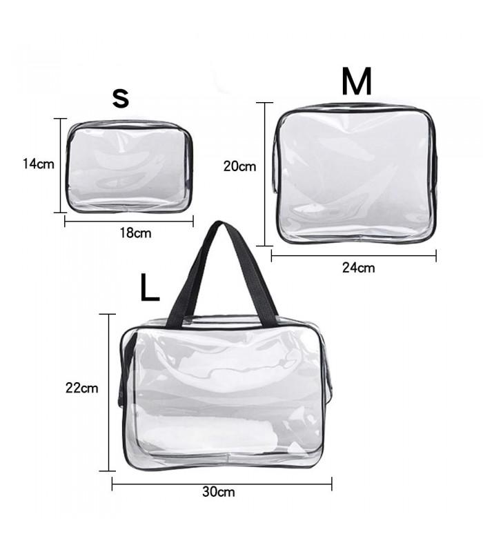 К-т от 3бр. прозрачни чантички с цип за козметика при пътуване - 5