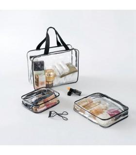 К-т от 3бр. прозрачни чантички с цип за козметика при пътуване - 3