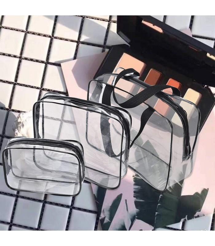 К-т от 3бр. прозрачни чантички с цип за козметика при пътуване - 2