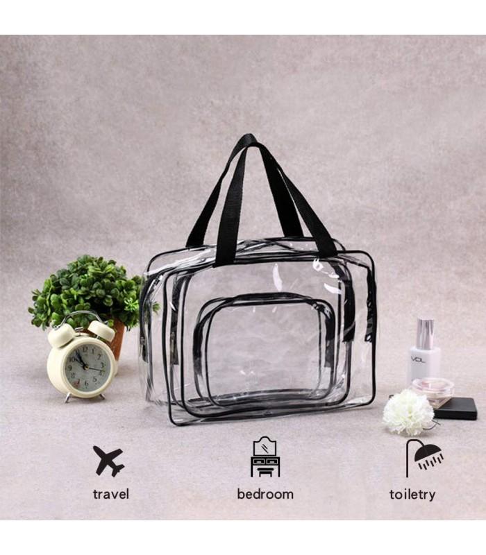 К-т от 3бр. прозрачни чантички с цип за козметика при пътуване - 6