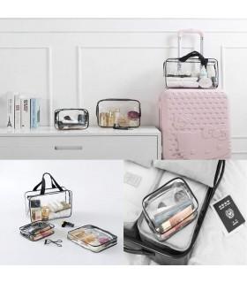 К-т от 3бр. прозрачни чантички с цип за козметика при пътуване - 7