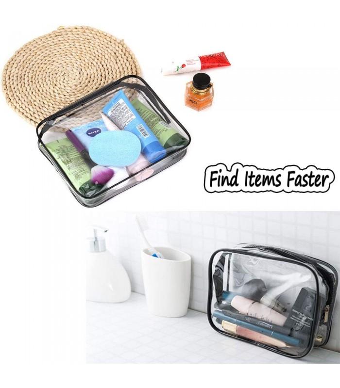 К-т от 3бр. прозрачни чантички с цип за козметика при пътуване - 8