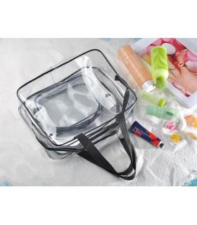 К-т от 3бр. прозрачни чантички с цип за козметика при пътуване - 9