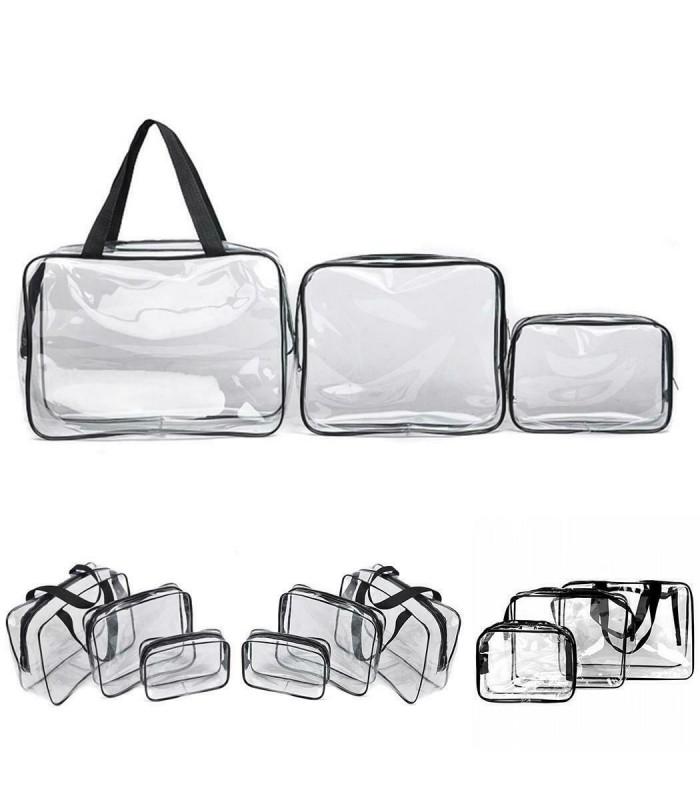 К-т от 3бр. прозрачни чантички с цип за козметика при пътуване - 11