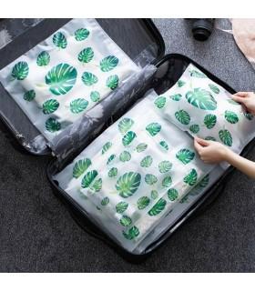5бр. водоустойчиви торбички за дрехи и козметика с апликация на листа и на фламинго - 1