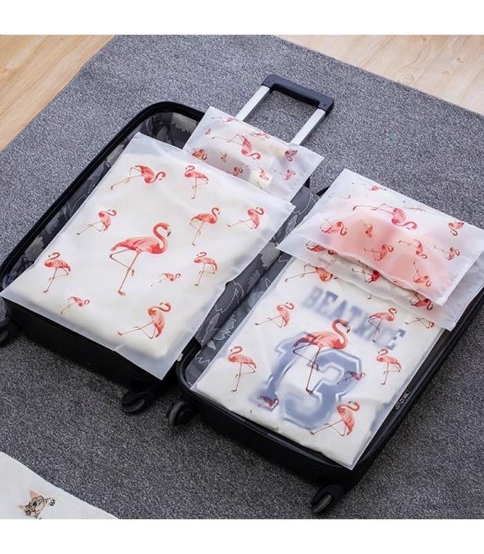 5бр. водоустойчиви торбички за дрехи и козметика с апликация на листа и на фламинго - 2